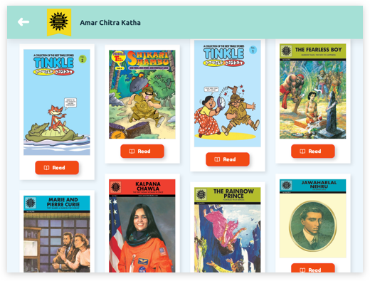 Online comic book subscription app for kids