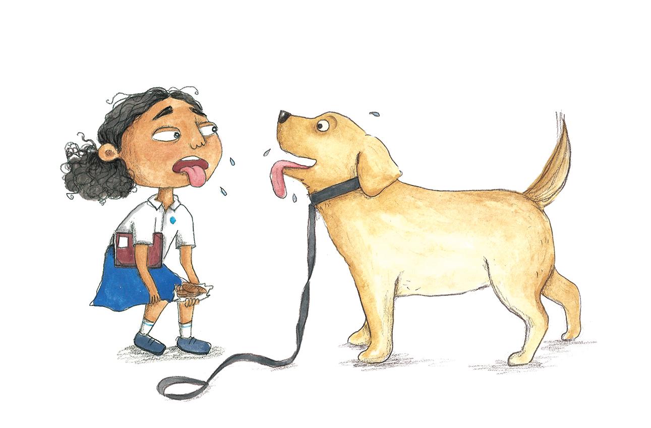 tanvi bhat school student and dog illustration
