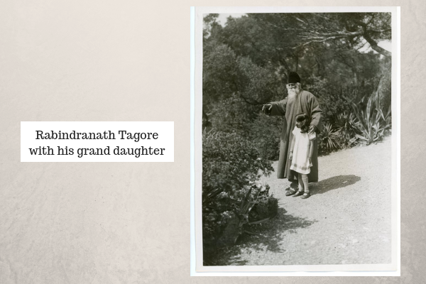 Rabindranath Tagore with his Daughter