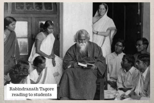 Rabindranath Tagore reading to students