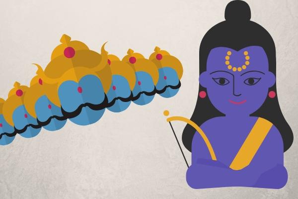 Lord Ram defeating the evil King Ravana