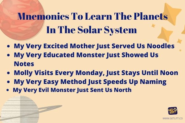 Mnemonics to learn the planets